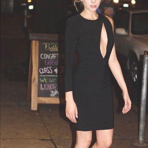 Black sexy mini dress with one sleeve